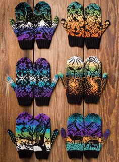 Ravelry: Woodland Winter Mittens pattern by Kerin Dimeler-Laurence I realy like this, beautiful colours Knitted Mittens Pattern, Knit Mittens, Knitting Socks, Hand Knitting, Fingerless Mittens, Loom Knitting, Knitting Machine, Vintage Knitting, Mitten Gloves