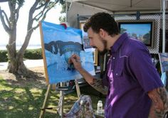 And look!  Real, live artists making real, live art before your eyes!  This is Michael Summers @ArtWalkSD  #SanDiego #ArtWalkontheBay