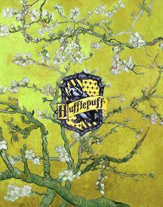 """hogwarts houses + van gogh's almond blossoms """