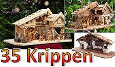 Krippenstall Weihnachtskrippe + Zubehör, NEU MIT BRUNNEN + Holzdeko + Tierfiguren + Stall KS70na-MF-SKR mit hochwertigen PREMIUM Krippenfiguren / FARBIG HANDBEMALT, 12er SET in edler Echtholz-Optik, auf Wunsch* Krippe mit Beleuchtung, 220V Trafo und 2 x Krippen - Lämpchen mit 2 x Laterne