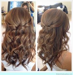 Pretty brunette updo with loose waves
