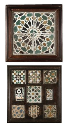 A GROUP OF ARISTA POTTERY TILES, TOLEDO, SPAIN, 1475-1525 the first group of four tiles of square form, moulded and glazed in white, green, black and honey-brown with a central sixteen-pointed star with radial panels separated by white interlace borders, the second group of nine tiles moulded and glazed with white, green, black, blue and honey-brown with a variety of stellar and polygonal designs