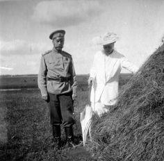 "Tsar Nicholas ll of Russia with the Empress Alexandra Feodorovna of Russia.  ""AL"""