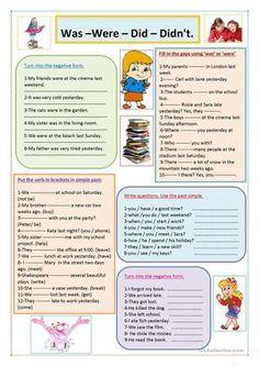 Was/ were / did / didn't worksheet - free esl printable worksheets mad Teaching English Grammar, English Worksheets For Kids, Grammar Lessons, English Vocabulary, Teaching Spanish, Kids English, English Reading, English Lessons, French Lessons
