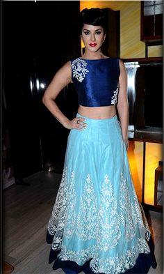 Sunny+Leone+Nylon+Machine+Work+Blue+Bollywood+Designer+Lehenga+-+9118 at Rs 1849