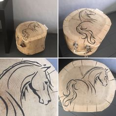 Boomstam #decoration #horse #painting on #wood