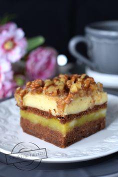 Ciasto jabłkowo-budyniowe z orzechami – Smaki na talerzu Tiramisu, Raspberry, Cheesecake, Lemon, Baking, Ethnic Recipes, Sweet, Food, Cakes