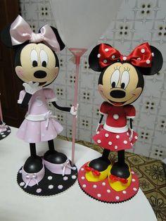 Minnie em Eva Mini Y Mickey, Mickey E Minnie Mouse, Disneyland, 3 D, Polymer Clay, Dolls, Disney Characters, Birthday, Party