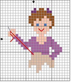 0 point de croix brodeuse - cross stitch embroidering girl