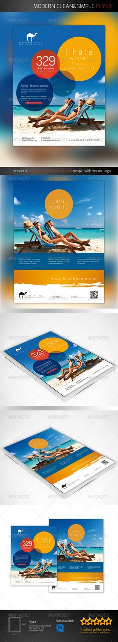 Travel Agency Flyer  #GraphicRiver         Double sided flyer. For any kind of business or any type of shop / stroe. In particular for travel agency or sports event.  All text layers are full type and can be edited with the click of a Button.  You can easily change color of this flayer. All you need to do is put your logo, photo and change the text.    Color Profile: CMYK  Resolution: 300 dpi  Cut dimensions: 8.5'' x 11.0''  Size: 8.75'' x 11.25''  Bleeds: 0.125''     Fonts and photo are…