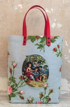 What to do with small needlepoints.  Tote bag with needlepoint inset