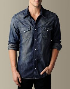 Men's Jake Phoenix Denim Western - Blue Grass | True Religion Brand Jeans