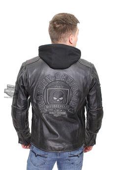 Harley-Davidson®   98097-16VM   Harley-Davidson® Mens Aurora Willie G Skull Badge 3-in-1 Black Leather Jacket