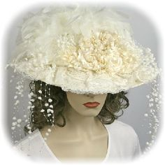 Breathtaking Ivory or White Victorian Touring Hat with Train Victorian Hats, Victorian Dresses, Tea Party Hats, Riding Hats, Bridal Hat, Kentucky Derby Hats, Diy Hat, Bridal And Formal, Vintage Bridal