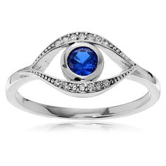 Journee Collection Sterling Silver Cubic Zirconia Evil Eye Ring (538.450 IDR) ❤ liked on Polyvore featuring jewelry, rings, silver, evil eye ring, cz rings, sterling silver band rings, long rings and cubic zirconia rings