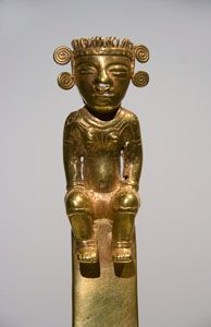 Colombia Quimbaya Shaman Figure Pendant in Gold (700)