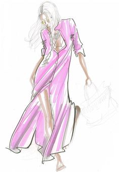Delmara Dress sketch. I love the style suggestions in these sketches! By Elisa Miller, from Calypso St Barth
