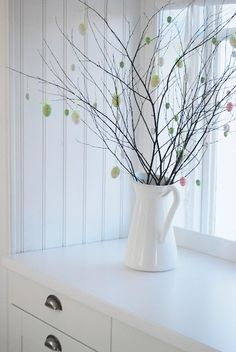 Easter Tree * Decor Idea * Pastel colored mini eggs on cut branches. * via Julia's white dreams Easter Tree Decorations, Handmade Decorations, Easter Decor, Easter Ideas, Tree Branch Decor, Coloring Easter Eggs, Hoppy Easter, Easter Crafts, Happy Holidays