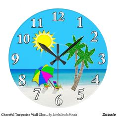 Happy Turquoise Wall Clocks Beach Themed Clock. Great gifts for Snowbirds and retirement gifts for those going to a tropical paradise. HERE: http://www.zazzle.com/cheerful_turquoise_wall_clocks_beach_theme-256728068577994427?rf=238147997806552929 Tropical Clocks can be customized, CALL Linda to help you ADD YOUR TEXT or I can make changes for you. More Beach Themed Gifts HERE: http://www.zazzle.com/littlelindapinda/gifts?cg=196503493814827408&rf=238147997806552929  For HELP Linda…