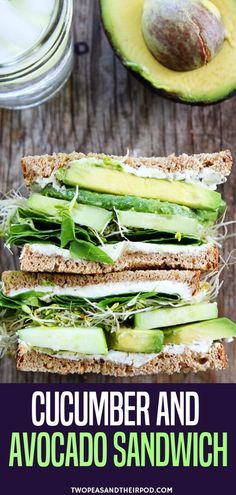 Start Your New Year With A Healthy Food With This Cucumber And Avocado Sandwich. This Fresh And Simple Vegetarian Sandwich Is Made With Cucumber, Avocado, Lettuce, Sprouts, And Herbed Goat Cheese. It Is Great For Lunch Or Dinner. This Sandwich Is Great Fo Cucumber Sandwiches, Healthy Sandwiches, Wrap Sandwiches, Breakfast Sandwiches, Cucumber Wrap Recipe, Sandwiches For Dinner, Goat Cheese Sandwiches, Picnic Sandwiches, Finger Sandwiches
