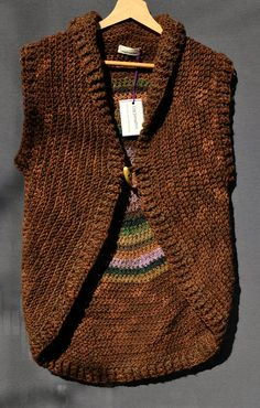 Crochet wool brown circular vest / shades of green by SophieCRO