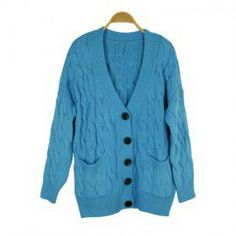 $16.75 Casual Style V-Neck Cross Texture Long Sleeve Cotton Blend Cardigans For Women