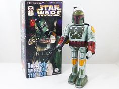 Star Wars Boba Fett Wind Up Tin Toy Tin Age Collection Made In Japan Rare! 841