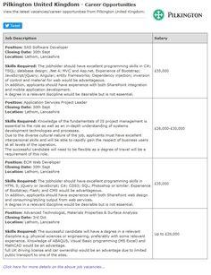 Pilkington have 4 new #Job #Vacancies: Pilkington are looking for a #SAS #Software #Developer, #Application #Services #Project #Leader & an #ECM #Web Developer & an Advanced #Technologist all based in Lathom, Lancashire. DEADLINE: 30th September. Full Job Description on our website: http://www.buildingdesign.co.uk/bd-careers/pilkington.htm