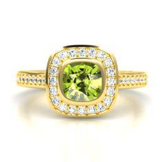 The Annabelle Ring  - yellow gold, peridot, & diamond.