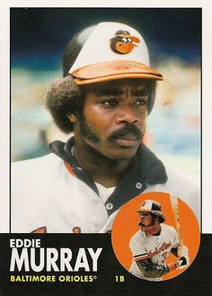"""Eddie Clarence Murray, nicknamed """"Steady Eddie"""", is a former Major League Baseball first baseman and designated hitter. He was known as one of the most reliable and productive hitters of his era Cute Baseball Hats, Baseball Game Outfits, Baseball First, Sports Baseball, Baseball Cards, Baseball Stuff, Baseball Players, Basketball, Sports"""