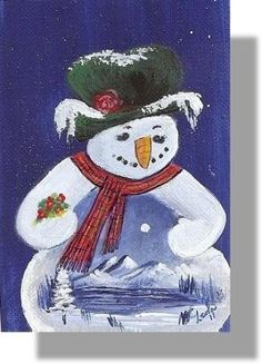 ACEO holidays winter snowman frosty mountain acrylic artwork by Leola Walker original #Miniature
