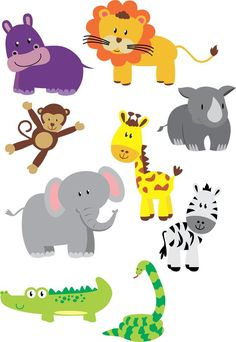 Jungle animal friends SVG, PDF, Jpeg and PNG - arca di noè - Animals Pictures Jungle Art, Jungle Animals, Baby Animals, Cute Animals, Best Friend Birthday Cards, Image Deco, Animal Crafts For Kids, Safari Animal Crafts, Cute Animal Photos