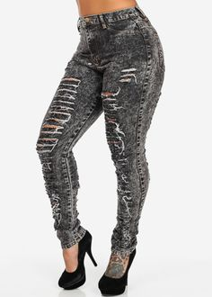 High Waist Ripped Skinny Jeans (Black Acid Wash)