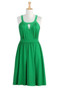 Formula One Red Cotton Dresses, Embellished Cotton Poplin Dresses Womens short dresses | Sundresses | Sundress | Cotton Sundress | Resort Su...