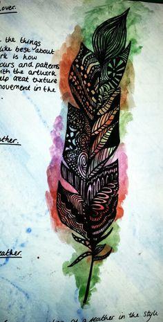Megan Doole #feathers #zentangle #watercolour #fineliner