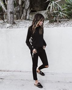 All black.  / wearing new Harper side lace up sweatshirt @shop_sincerelyjules shopsincerelyjules.com