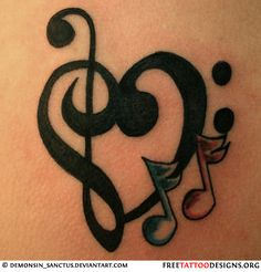 Heart and music notes tattoo