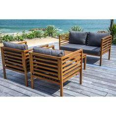 CARREFOUR Salon de jardin d\'angle Hanoi - 2 fauteuils + 1 fauteuil ...
