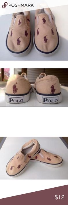 🎉EDITORS PICK🏇🏻 Polo Slide Ons Cream canvas with blue Polo horses. Normal wear, clean. Ralph Lauren Shoes