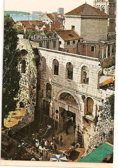 Postcard from Split, Croatia-Diocletian Palace southern gate, 1981
