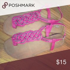 Pink and silver-chain braided sandals Pink and silver-chain braided sandals / flat / true to size / worn less than 5x Bakers Shoes Sandals