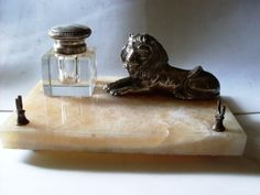 Lion, Silver Lidded Inkwell, Pink Marble Beautiful from Italy