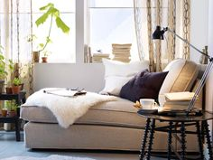 Adorable IKEA Living Room Design Ideas : Amazing White Wall IKEA Living Room with IKEA Window Seat Corner and Ornamental Plants