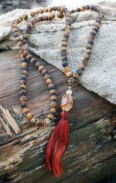 Frosted Tiger Eye Mala Necklace - Made by look4treasures