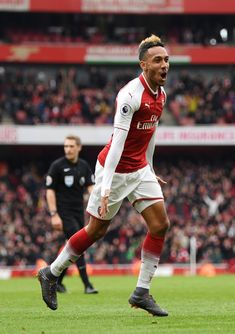 Pierre-Emerick Aubameyang of Arsenal celebrates after scoring his sides second goal during the Premier League match between Arsenal and Stoke City at Emirates Stadium on April 2018 in London, England. Aubameyang Arsenal, Arsenal Football, John Stones, Pierre Emerick, Soccer Stuff, Stoke City, Soccer World, Premier League Matches, Best Player