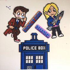 Doctor Who: Tennant, Rose and Tardis hama perler beads by vixxi89