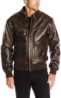 Cockpit USA Men's 100 Mission A-2 Pilot's Lambskin Leather Jacket, Brown, Medium ❤ Cockpit USA Mens Outerwear