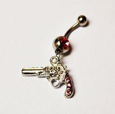 Pink Gun Belly Button Ring Gun Navel Jewelry by BeautyntheBeach, $10.00
