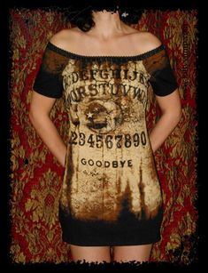 Spirit Board Ouija Halloween Goth Off Shoulder Tunic top shirt