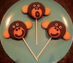 """<p>These silly Moon Pie Pops take minutes to make!</p> <p>Directions <a href=""""http://www.kitchenfunwithmy3sons.com/2011/06/monkey-moon-pie-pops.html"""">HERE</a></p>"""